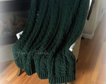 Soft Wool Afghan, Crochet Afghan Blanket, Green Knit Afghan, Chunky Aran Cable Blanket, Irish Afghan Blanket, Green Blanket Throw, Ireland