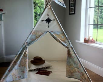 Teepee Tent compass and map design. All wooden poles included. Different size options available.