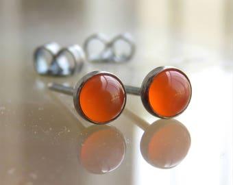 Orange Gemstone Stud Earrings - Carnelian Stud Earrings - Silver Stud Earrings - Carnelian Post Earrings - Oxidized Silver Earrings