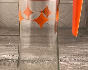 Anchor Hocking Orange Atomic Starbursts Pitcher
