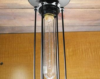 Tube Black Cage ceiling light Industrial Aluminium light, Antique Edison Bulb, Lamp, Rustic Lighting