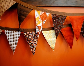 Fall Fabric Pennant Banner - 9ft