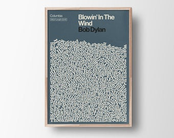 Blowin in the Wind, Bob Dylan, Song Lyric Poster