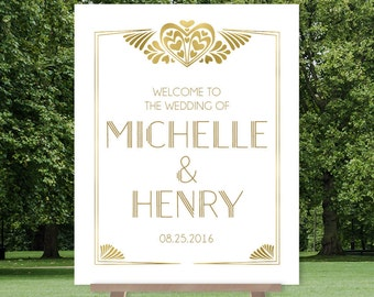 Art Deco Wedding Welcome Sign / Great Gatsby Roaring Twenties 1920s / Gold and White, Gold ▷ Printable File {or} Printed & Shipped