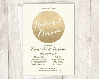 Gold Rehearsal Dinner Invitation / Gold Sparkle Glitter Wedding Sign / Metallic Gold and Cream ▷ Printed Wedding Invitations {or} Printable