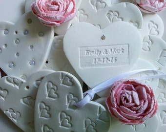 Personalized Wedding Clay Heart Ornaments