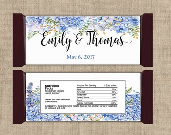 12 Large Personalized Hydrangea Hershey Candy Bar Wrappers - Wedding Candy Bar Wrapper  - Other Colors Available
