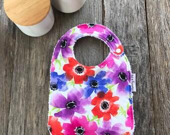 Big and Bright / Bandana Bib / Flower Bib / Floral Bib / Purple / Pink / Red / Bold / Dribble Bibs / Funky Bib / Colourful Bib