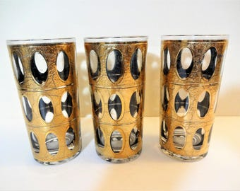 "Vintage Culver ""Pisa"" Gold Highball Glasses - Set of 3 - 22K Gold Decoration - Mid Century Barware"
