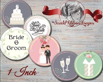 Wedding, Bridal Shower  1 inch Digital images Set of 15 favors, gift tags, cupcake toppers, shower bags 600dpi high resolution images