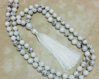 Super Calm Howlite Mala 108 Beads Hand Knotted White Tassel 40 Inches