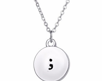 Semicolon Charm Pendant Silver Plated Necklace 16-18 Inches Adjustable