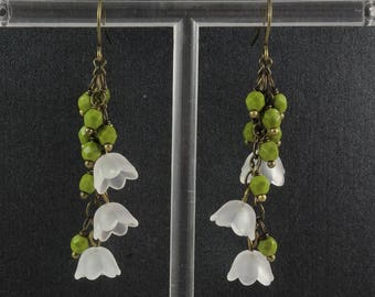 Vintage Style Bronze Olive Green and White Lucite Flower and Czech Glass Lily of the Valley Earrings May Birthflower