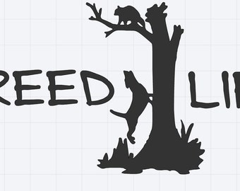 Treed Life Coon Hunting Decal For Trucks and Dog Boxes