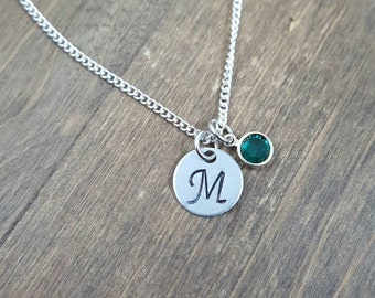 Personalized Birthstone Necklace - Hand stamped Monogram Necklace - Swarovski Crystal Birthstone Necklace - Initial Necklace