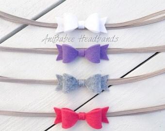 Baby Headband, Baby Bow Headband, Felt Bow Headband, Baby Bow Headband Set, Baby Headbands, Newborn Headband, Bow headband set