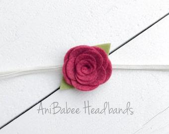 Baby Headband, Baby Flower Headband, Red Flower Headband, Infant Headband, Infant Flower Headband, Newborn Headband, Flower Headband