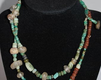 Vintage Turquoise and Quartz Beaded Long Necklace