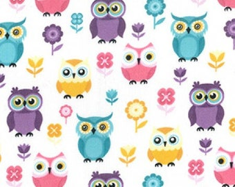 Spring Owl Print Poly Cotton Fabric - by the Metre