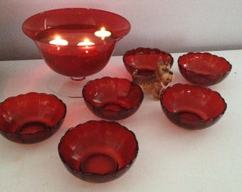 Arcoroc French Glass Bowls and Serving Bowl Cranberry Glass Buffet Set SOLD SEPARATELY or TOGETHER