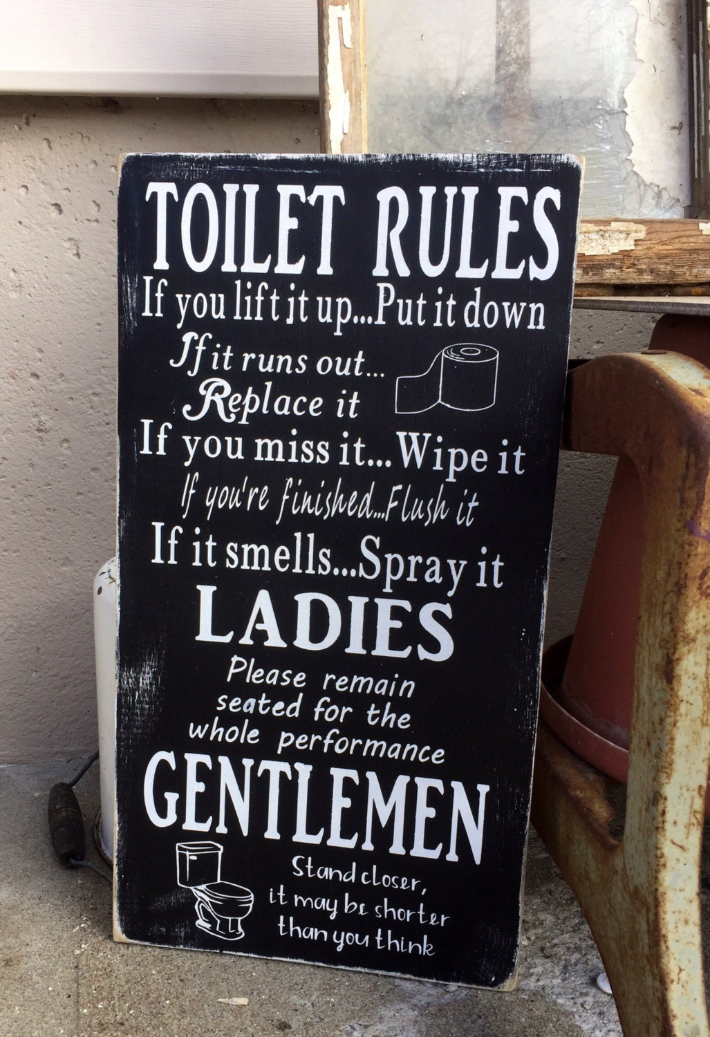 Bathroom rules sign funny bathroom wall decor toilet sign for Bathroom quote signs