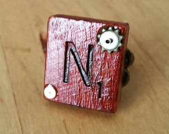 """Steampunk Stained Real Wood Altered Gear Embellished Scrabble Tile """"N"""" Ring"""