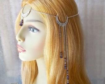 Amethyst Triple Moon Headdress, Moon Headpiece, Silver Moon Circlet, Pagan Head Chain, Wicca Headdress, Crescent Moon, Wiccan, Goddess, Luna