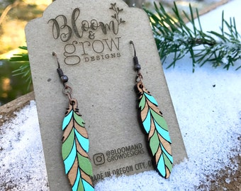 Wooden Earrings - Boho Feather - Colorful
