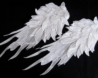 3DEpaulet Leaf Epaulet Wings Lace Epaulet White Shoulder Pad 2PCS.White Epaulet Shoulder Lace Pads  Handmade Epaulette Costume Embellishment