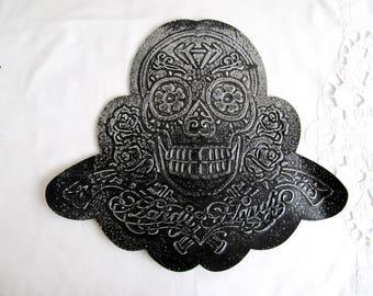 LARGE Skull Patch,Skull with Roses,Skull Relief Applique,Dark Gray Skull Patch,Antique Gray Skull