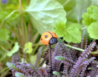 Ladybug Pick, Color Options: Orange for Miniature Garden, Fairy Garden