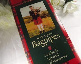 Scottish Bagpipes, Childrens , Vintage Boxed , Outlandish , Tartan