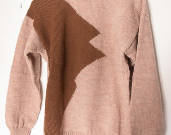 Sweater, hand knitted in about 1984 in two shades of brown
