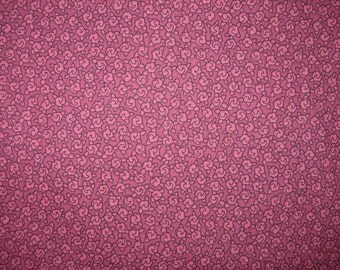 Cotton Fabric, Raspberry Print, By Springs  Industries, 1-1/3 Yards