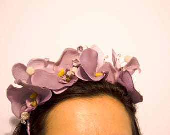 Lilac Orchid Headband Fascinator with crystal beads/wedding fascinator/lilac orchids crown/hatsandcaps/wedding hats/tocado/corona orquídeas