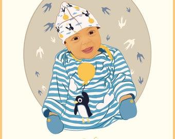 Customised / Bespoke Baby Illustration Print to Celebrate Recent Birth / Christening / Baptism / Birthday