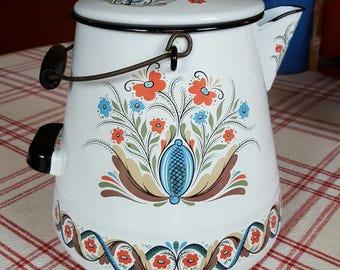 Swedish Enamelware Cowboy Camp Coffee Pot Berggren Scandinavian Folk design