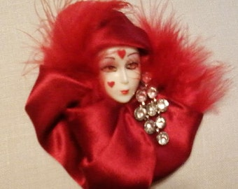 Valentine Lady, Red Harlequin Lady Face Vintage Style Brooch/Pin