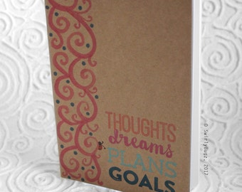 Thoughts, Dreams, Plans, Goals, journal, notebook, sketch book, blank pages, swirls, ladybug, kraft