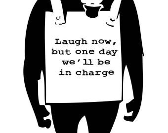Banksy Street Art  Monkey Laugh   Poster in different sizes A0-A1-A2-A3-A4-A5-A6 - MAXI ( 91.5 cm by 61 )