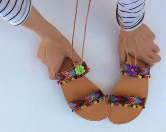 Pom Pom Sandals, Boho Sandals, Greek sandals, Boho Gladiators, Summer sandals, leather sandals, womens sandals, handmade sandals, gladiators