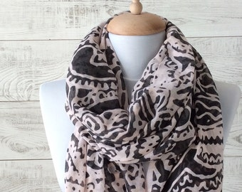 Oversize scarf cotton scarf summer scarf light pink scarf boho scarf lightweight scarf infinity scarf paisley scarf