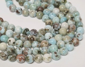 Larimar beads 8mm. Genuine gemstone beads. DIY loose beads