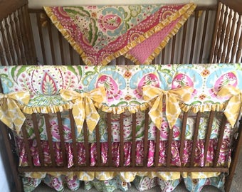 Kumari garden bumper less baby bedding set, kumari garden rail cover baby bedding set.