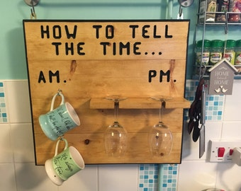 How To Tell The Time - Cup and Wine Glass Holders - Hand made and finished with Antique Pine Beeswax