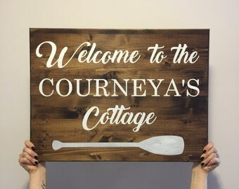 Wooden Sign - Cottage Sign - Welcome Sign - Welcome to our Cottage - Outdoor Sign