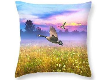 Nature Throw Pillow, Canadian Geese, Accent Pillow, Bird Pillow, Pillow Cushion, Home Decor, Couch Pillow, Wildlife Decor, Purple and Gold