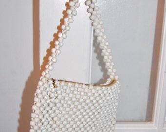 Vintage 50s Evening Bag - Beaded Day Purse - Bridal Purse - Wedding Handbag - Honeymoon