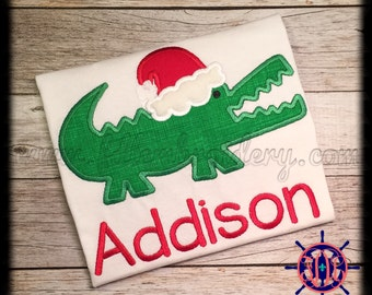 Santa Gator Applique Shirt, Santa Alligator Applique Shirt
