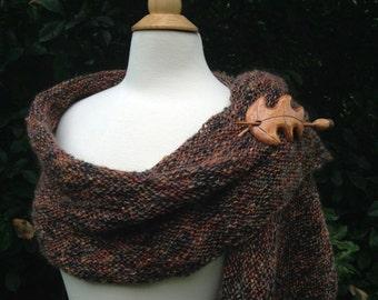 Wool Wrap/Shawl - Hand knit - Jasper - Brown
